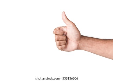 Hand make good thumbs up isolated on white