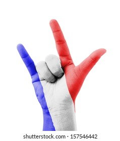 Hand making I love you sign, France flag painted, multi purpose concept - isolated on white background