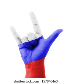 Hand making I love you sign, Russia flag painted, multi purpose concept - isolated on white background