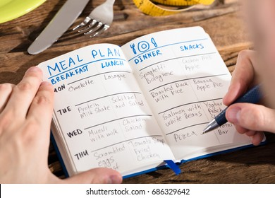 Hand Making Meal Plan On Notebook With Fork And Knife On Desk