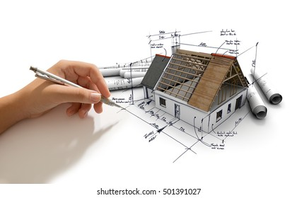 Hand making notes on an architecture model  3D rendering