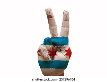 Hand making the V sign chicago city flag painted