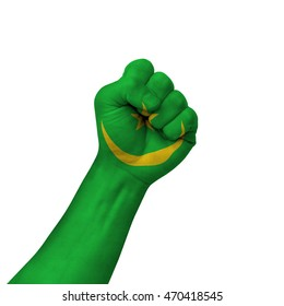 Hand making victory sign, mauritania painted with flag as symbol of victory, resistance, fight, power, protest, success - isolated on white background