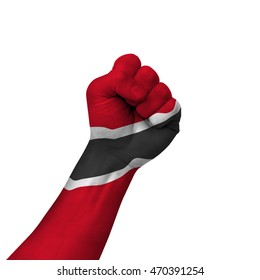 Hand making victory sign, trinidad painted with flag as symbol of victory, resistance, fight, power, protest, success - isolated on white background