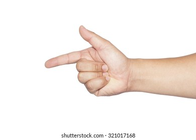 hand male show  index finger symbol on white background.