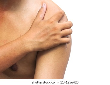 hand of man catches his shoulders with shoulder pain on white background. Health care Concepts