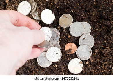 the hand of a man with coins that rush into qualitative soil, agriculture with land on the ground of American coins of 25 cents, a quarter of a dollar, together