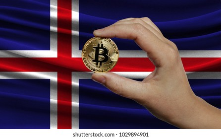 Hand of a man with a gold bitcone Cryptocurrency Digital bit of coins in a hand on a background of the flag of Iceland.