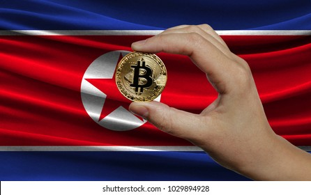 Hand of a man with a gold bitcone Cryptocurrency Digital bit of coins in a hand on a background of the flag of North Korea.