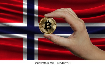 Hand of a man with a gold bitcone Cryptocurrency Digital bit of coins in a hand on a background of the flag of Norway.