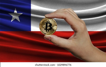 Hand of a man with a gold bitcone Cryptocurrency Digital bit of coins in a hand on a background of the flag of Chile.