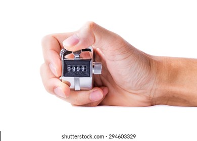 Hand man hold tally counter isolated white background.