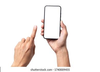 Hombre de mano con smartphone móvil con pantalla en blanco aislado en fondo blanco con ruta de recorte