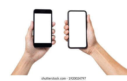 Hand man holding mock up mobile smartphone with blank screen isolated on white background with clipping path