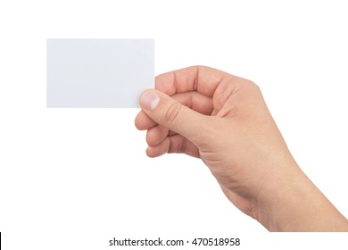 hand of man holding paper card isolated on white background, business card showing