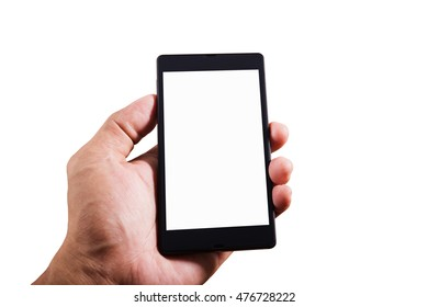 Hand man holding smart phone isolated on white background, Shape hand and phone, Smart phone white screen collection, Hand holding smart phone mobile isolate, Smart phone mobile with hand on white