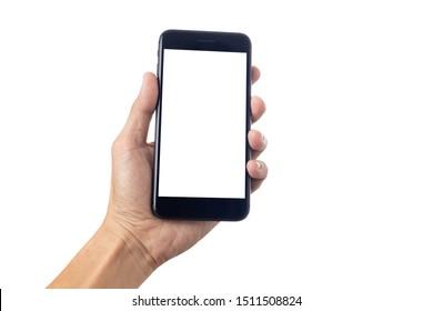 Hombre de mano con smartphone con pantalla en blanco aislado en fondo blanco con trayectoria de recorte