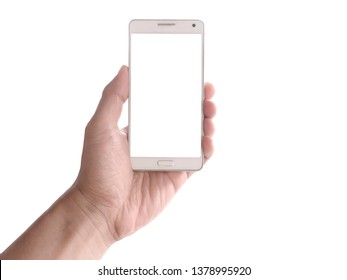 Hand man holding smartphone isolated on white background.