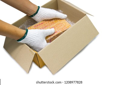 hand of man holds bubble wrap, product protection covering insurance, Anti-fracture damaged during shipping isolated white background.
