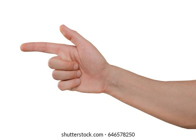 Hand of man isolated on white background, finger shows on target