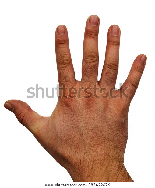 Hand of man isolated on white
