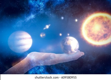 Hand of man pretending to hold an invisible object against composite image of solar system against white background 3d