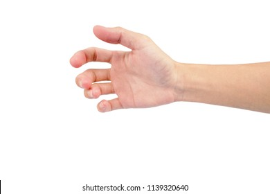 hand of man show in gestures isolated on white background with white skin