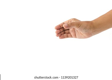 Hand of man is showing the gesture for pick up something isolated on white background
