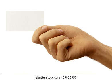 The hand of man shows a business card. Isolated on white.