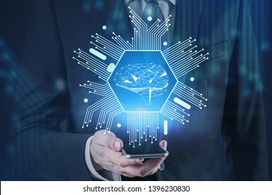 Hand of man with smartphone with artificial intelligence interface above it over blurred background with circuits. Concept of brainstorming and big data. Toned image double exposure
