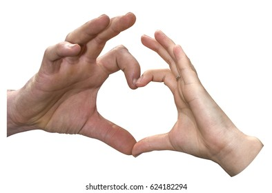 The hand of a man and a woman together making the hart of love symbol