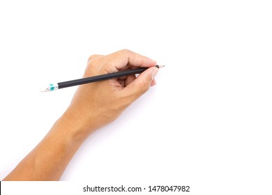 hand man writing pencil on isolated white background.