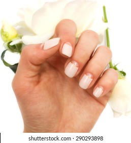 Hand with manicured nails and white rose on a white  background.