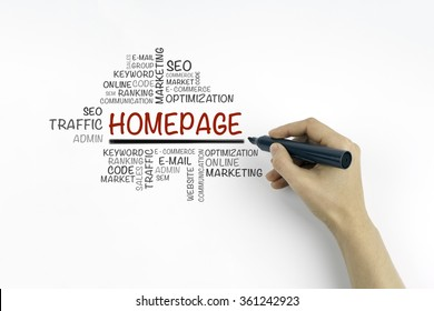 Hand with marker writing Homepage word cloud, business concept