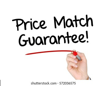 A hand with a marker writing 'Price Match Guarantee!'.