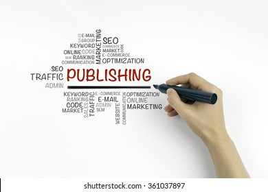 Hand with marker writing Publishing word cloud, business concept