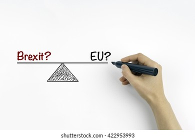 Hand with marker writing - Brexit? and EU? referring to the upcoming EU referendum.