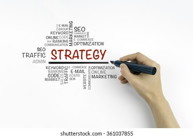 Hand with marker writing Strategy word cloud, education concept