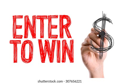 Hand with marker writing the word Enter to Win