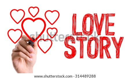 Hand With Marker Writing The Word Love Story