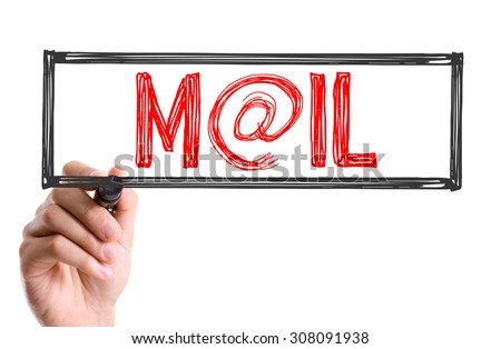 Hand with marker writing the word Mail