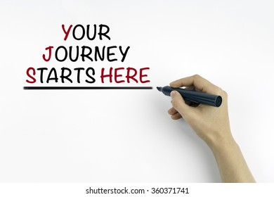 Hand with marker writing:Your Journey Starts Here