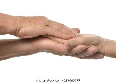 Hand massage. closeup on a white background