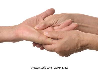Hand massage  closeup on a white background