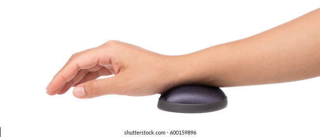hand with mause pad isolated on a white background