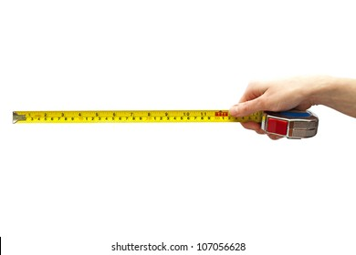 Hand with a measuring tape one feet long, isolated on white