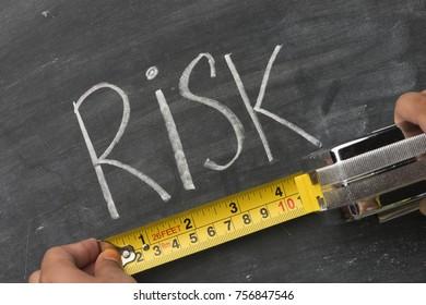 hand measuring word risk