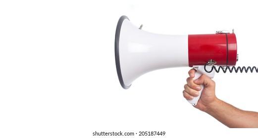 hand and a megaphone