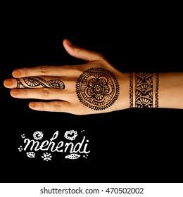 Hand Mehendi Henna Tattoo On Black Stock Photo Edit Now 470502002