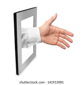 Hand in metal frame